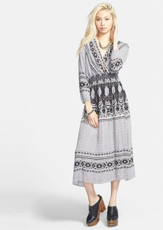 Free People 'She's A Lady' Print Deep V-Neck Midi Dress