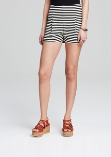 Free People Shorts - Ponte High Rise Striped Clean