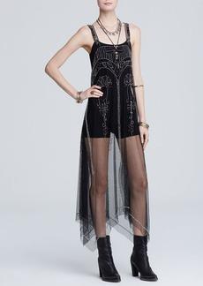 Free People Slip Dress - Embellished Mesh Art Deco