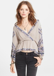Free People 'Stitch Up Your Heart' Embellished Surplice Top