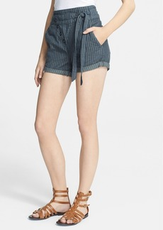Free People Stripe Cotton & Linen Shorts