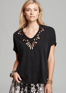 Free People Tee - Cutwork Double V