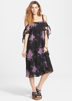 Free People 'Tied To You' Floral Print Tie Sleeve Midi Dress