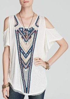 Free People Top - Gypsy Spell Embroidered Cold Shoulder