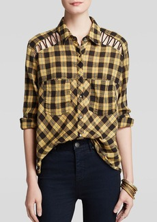 Free People Top - Lace Up Plaid