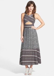 Free People 'Tribal Tale' Cutout Mixed Print Midi Dress
