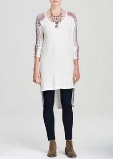 Free People Tunic - Drippy Thermal Mixed Tape Swit