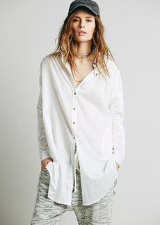 Oversize Ruched Sleeve Long Shirt