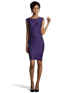 French Connection amethyst stretch cotton blend 'Luxury Lace' sheath dress
