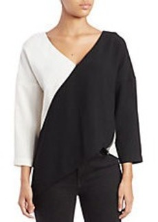 FRENCH CONNECTION Arrow Asymmetric Crepe Blouse