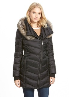 French Connection Asymmetrical Down Coat with Faux Fur Trim