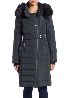 FRENCH CONNECTION Asymmetrical Zip Faux Fur-Trimmed Puffer Coat