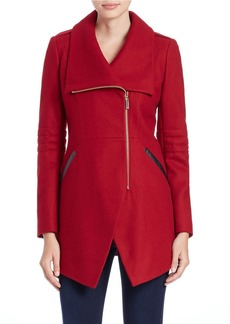 FRENCH CONNECTION Asymmetrical Zip-Front Coat