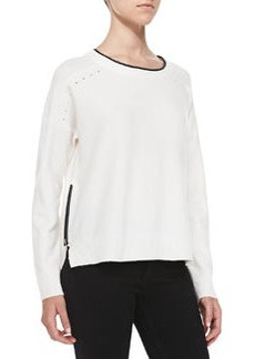 French Connection Autumn Vhari Faux-Leather Trimmed Sweater, White