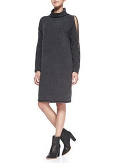 French Connection Autumn Vhari Zip-Detailed Sweaterdress, Charcoal