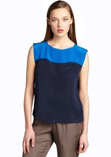 French Connection azure and navy silk colorblocked sleeveless blouse