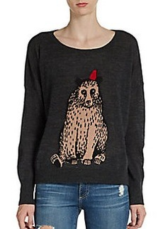 French Connection Bear Intarsia Wool-Blend Sweater