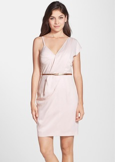 French Connection Belted Asymmetrical Crepe Sheath Dress