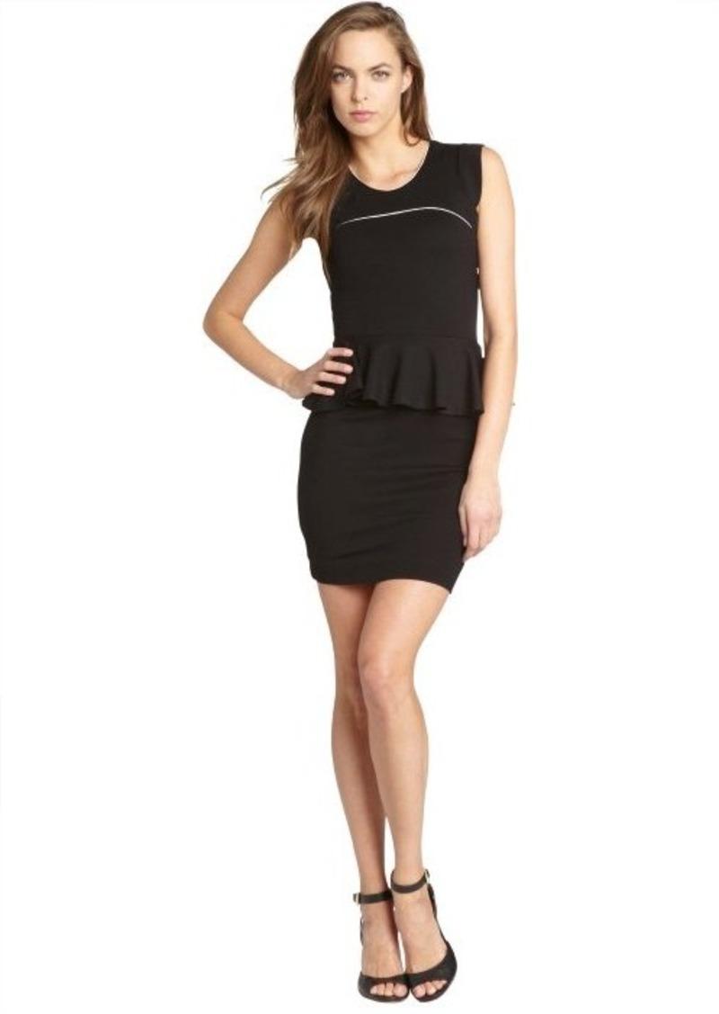 French Connection black and daisy white 'Valencia' viscose peplum waist dress