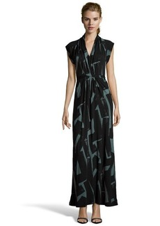 French Connection black and everglade jersey 'Meadow Brushstrokes' maxi dress