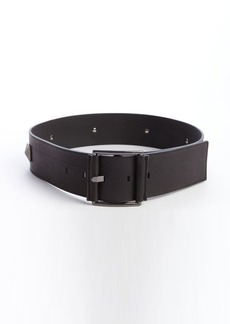 French Connection black and gunmetal leather 'Clara' studded detail wide belt
