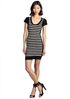 French Connection black and ivory striped scoop neck stretch knit 'Dani' dress