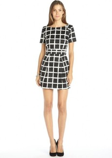 French Connection black and white cotton blend check pattern printed sleeveless dress