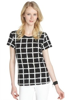French Connection black and white cotton check pattern short sleeve tee