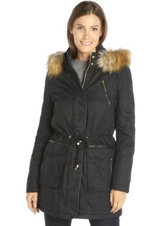 French Connection black cotton faux leather a faux fur trimmed hooded zip front parka