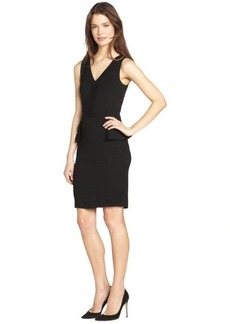 French Connection black 'Eleanor' peplum detail stretch v-neck dress
