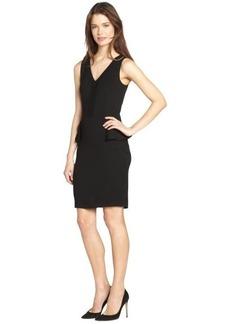 French Connection black 'Eleanor' peplum detail stretch v-neck dress