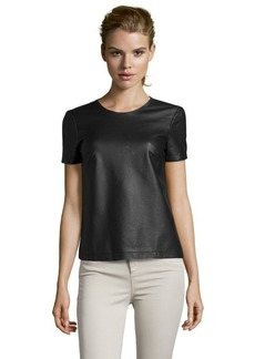 French Connection black faux leather short sleeve 'Athena' top
