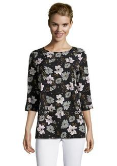 French Connection black floral 'Plains print' 3/4-sleeve blouse