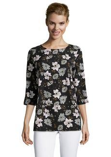 French Connection black floral 'Plains print' 3/4-sleeve blouse