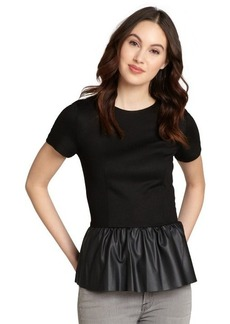 French Connection black jersey and faux leather 'Jacinda' peplum top