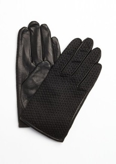French Connection black leather cheveron jacquard gloves