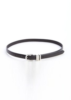 French Connection black leather 'Hope' skinny waist belt