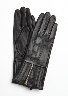 French Connection black leather zipped up gloves