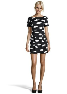 French Connection black printed cotton blend 'Summer Bark' dress