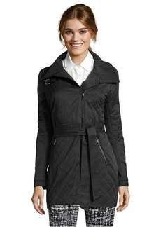 French Connection black quilted cotton blend cutaway belted rain jacket