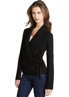 French Connection black stretch wool 'Autumn Walk' wrap cardigan