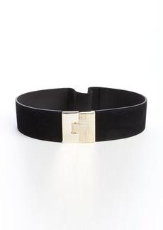 French Connection black suede elastic goldtone puzzle lock belt