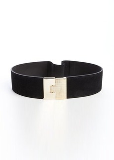 French Connection black suede elastic goldtone puzzle lock belt