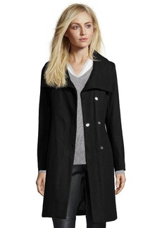 French Connection black wool faux fur trimmed collar belted coat