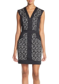 French Connection Blocked Print Sheath Minidress