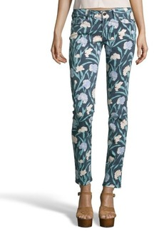 French Connection blue and green carnation print denim skinny jeans