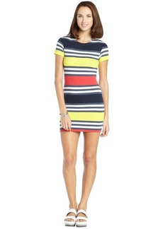 French Connection blue and yellow stretch cotton jag stripe dress