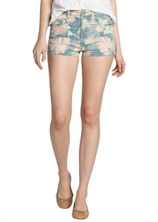 French Connection blue, pink and green 'Jungle' denim shorts