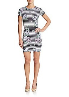 French Connection Bonita Floral Stripe Sheath Dress