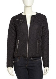 French Connection Boxy Quilted Faux-Leather Trimmed Jacket, Souk Sunrise